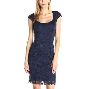 Tiana B Navy Blue Lace Cap Sleeve Sweetheart Dress